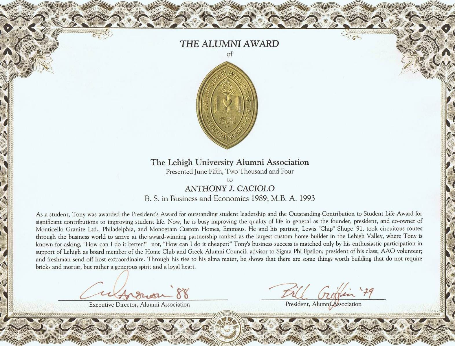 Lehigh University Alumni of the year award